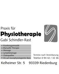 Praxis für Physiotherapie Schindler-Rast